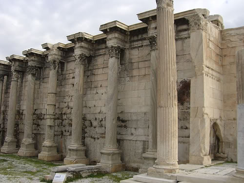Ruins of Hadrian's Library. Note the brown blemish to the right - a remain of a mosaic and reminder of the buildings Byzantine re-use