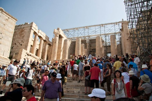 Hordes of tourists daily visiting the Propylaia - the access point to the top of the Sacred Rock