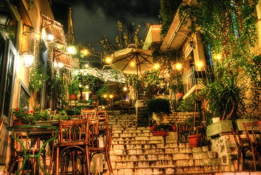Plaka hillside restaurants by night