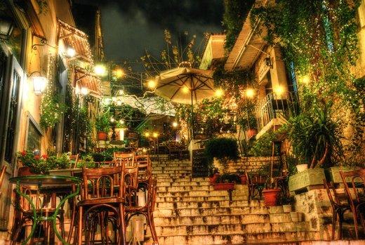Plaka hillside restaurants by night