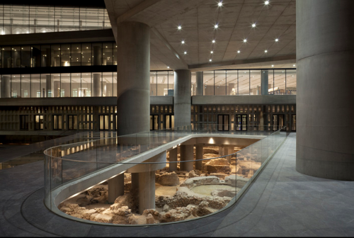 The entrance to the Acropolis Museum, with a view of the ancient city. Courtesy of Bernard Tschumi Architects